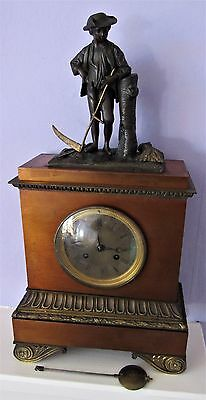 High Quality French Bronze & Ormolu Mantle Clock With Peasant Male Figure