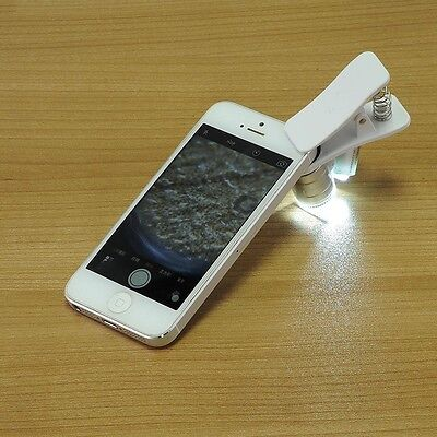 60X Optical Zoom Mobile Phone Camera Magnifier Microscope Micro Lens + LED Clip