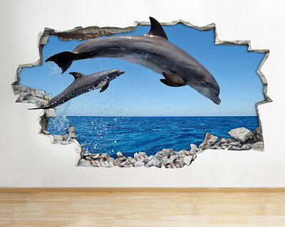 Wall Stickers Dolphins Sea Ocean Friends Smashed Decal 3D Art Vinyl Room F052