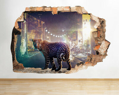 Wall Stickers Snow Leopard Animal Cat Cute Smashed Decal 3D Art Vinyl Room C320