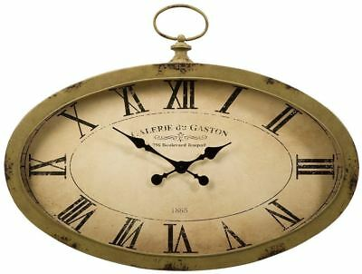 "Large Old-Fashioned Pocket Watch Wall Clock 35"" Distressed Sage Green Iron Wood"