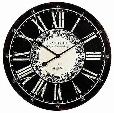 "Old Fashioned Black Grand Hotel Wood Wall Clock 23"" Shabby French Cottage Chic"