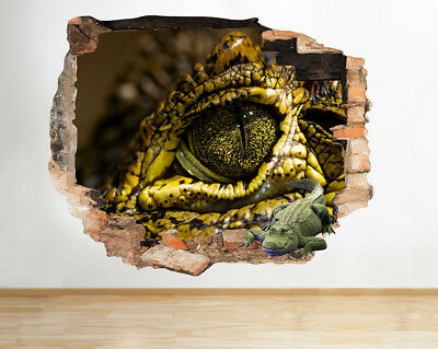 Wall Stickers Crocodile Eye Cool Bedroom Smashed Decal 3D Art Vinyl Room F720