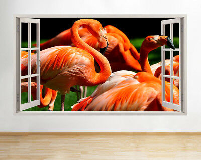 Wall Stickers Flamingo Bird Animal Zoo Hall Window Decal 3D Art Vinyl Room F773