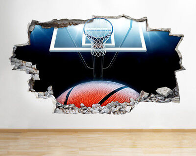 Wall Stickers Basketball Sports Net Bedroom Smashed Decal 3D Art Vinyl Room F885