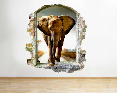 Wall Stickers Elephant Walk Living Hall Smashed Decal 3D Art Vinyl Room F565