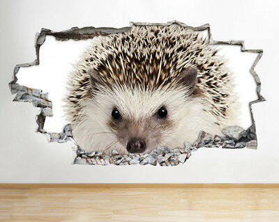 Wall Stickers Cute Hedgehog Animal Hall Smashed Decal 3D Art Vinyl Room F954