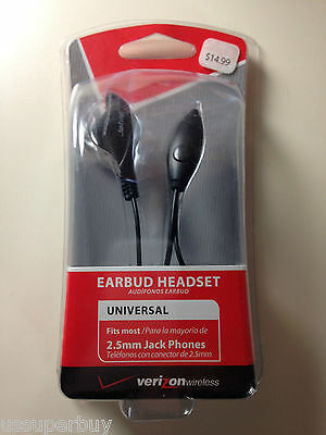 NIB Wholesale Lot 6x Verizon Jabra OEM Earbud Headset 2.5mm Black Answer/End