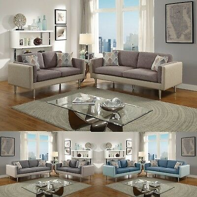 Eye-Catching Dual Tone Sofa Set in 3 Color Sofa And Loveseat Silver Legs Pillows
