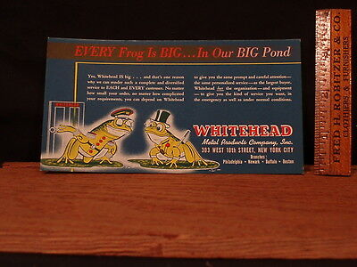 Vintage Advertising Ink Blotter New Whitehead Metal Products, New York -
