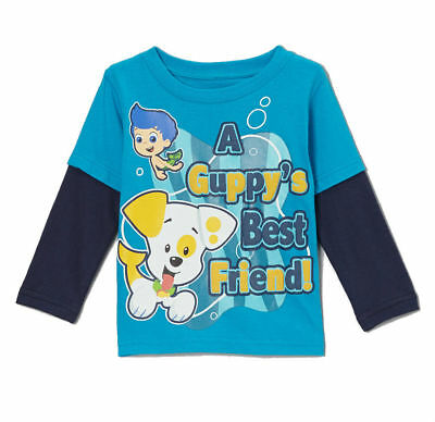 Nickelodeon Bubble Guppies Toddler Boys Children Long Sleeve Graphic Tee Shirt t