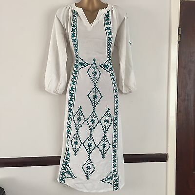 White Green Summer Beach Top Kurta Kaftan Kameez Tunic Cotton Holiday M 14 New
