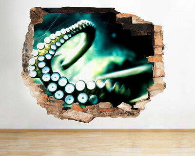 J259 Science Lab Brain Octopus Smashed Wall Decal 3D Art Stickers Vinyl Room