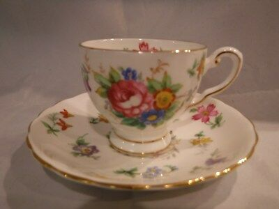 "Vintage Tuscan Bone China ""bouquet"" Demitasse Cup & Saucer England Floral"