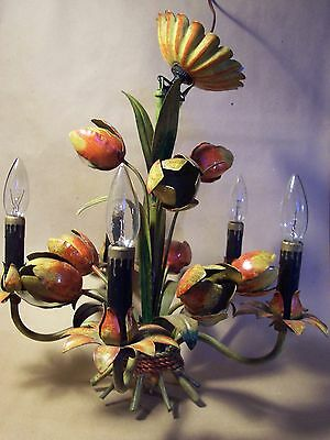 Italian Tole Chandelier Hand Painted Antique Tulips Excellent Condition