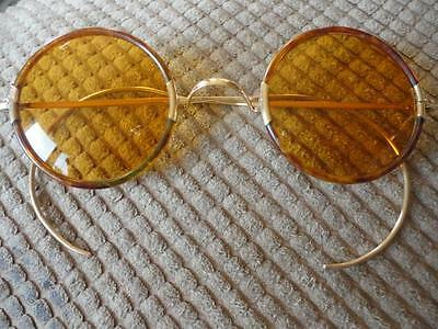 12 k Gold Celluloid Round Gold Lens Sun Glasses Ear Wrap Arms Vintage