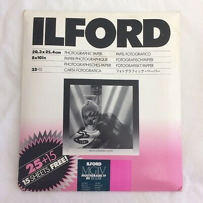 """ILFORD 8x10"""" Multigrade IV RC  Deluxe MG4RC1M Paper 40 Sheets Glossy 1935578"""