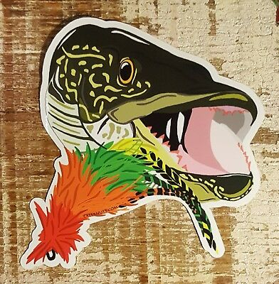 "NORTHERN PIKE Fly Fishing Bumper Stickers Decals 4"" x 4 1/2 glossy weather proof"