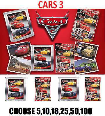Panini  CARS 3  STICKERS  PACKS NEW SEALED CHOOSE  5,10,18,25,50,100