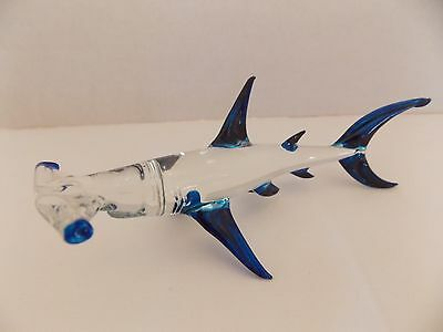 Hammerhead Shark Clear Glass with Blue Fins 6 inches Long