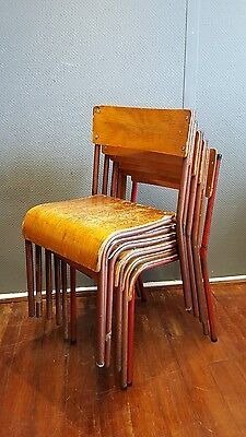 Vintage Retro Industrial Stacking School Chairs Circa 1950