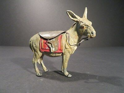 Unique Cast Iron Coin Still Bank Donkey Mule Burro Vintage Bank w/ tin Saddle