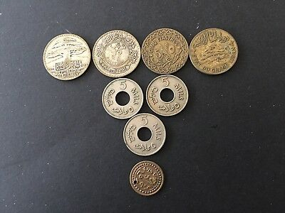 Set of 8 silver,bronze  coins from: Palestine,Syria,Lebanon 1920-1930 SCARCE !!!