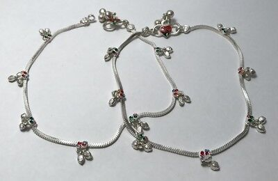 925 Sterling Silver Anklets with Bells *set of 2*