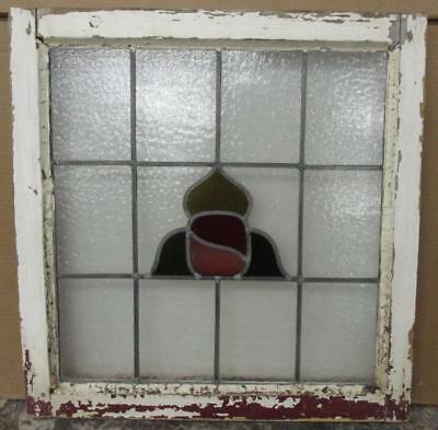 "OLD ENGLISH LEADED STAINED GLASS WINDOW Pretty Abstract 21.75"" x 22.25"""