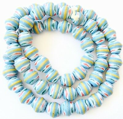 Handmade Ghana Turquoise blue bicone Recycled glass African trade beads