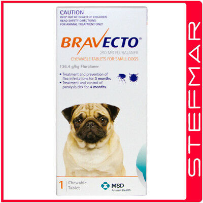 2 x Bravecto for Dogs Small 4.5-10kg 1PK Chews
