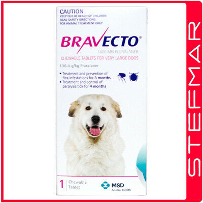 2 x Bravecto for Dogs Very Large 40-56kg 1Pk Chews