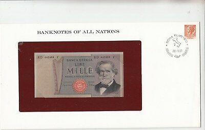 1980 Italy 1000Lire Franklin Mint Banknote Cover.Perfect in any way.Going cheap