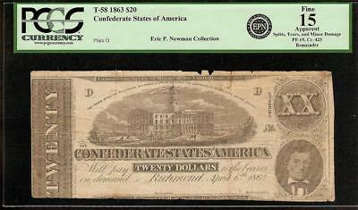 1863 $20 Dollar Blank Civil War Note Money Confederate States Remainder T58 Pcgs