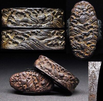 "OMORI Signed FUCHI/KASHIRA 18-19th C Japanese Edo Antique fitting ""Dragon"" d494a"
