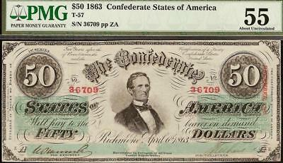 1863 $50 Dollar Bill Confederate States Currency Civil War Note Money T57 Pmg 55