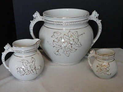 Antique Lions Heads Chamber Pot With Small Pitcher & Handled Mug