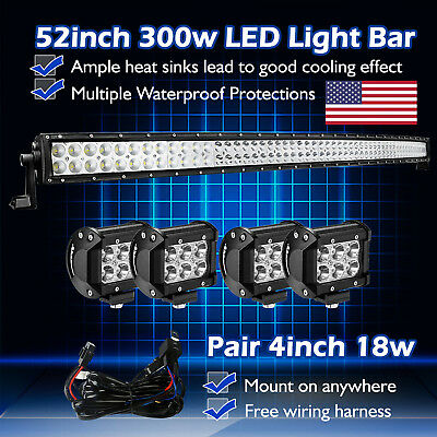 """52inch Curved LED Light Bar Flood Spot +4"""" CREE Pods Work Offroad SUV Lamp 50 20"""