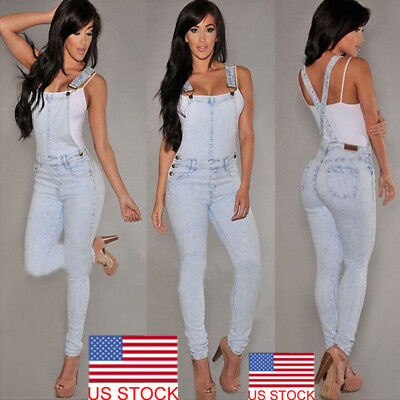 Women Washed Jeans Denim Casual Hole Loose Jumpsuit Romper Overall Pants USA