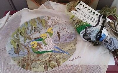 Unfinished LONG Stitch Tapestry Budgie Birds Includes wool & sorter ~ Needs wash