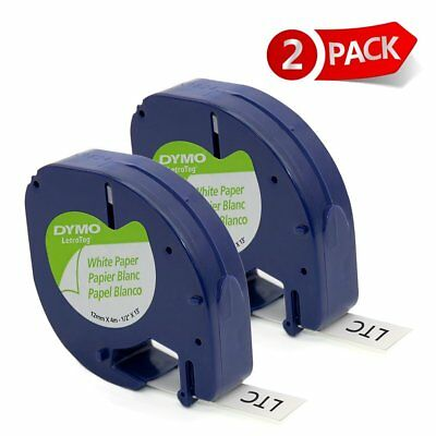 Compatible DYMO Letratag Refills Label Tape 91330 12mm Black on White Paper 2PK