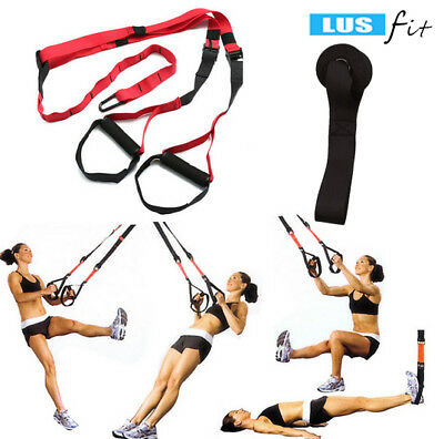 New Red Home Gym Suspension Resistance Strength Training Straps Workout Trainer