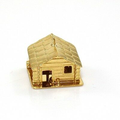 Vintage Solid 18K Yellow Gold Articulated Log Cabin House Pot Inside Charm LQ2-G