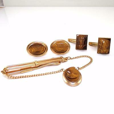 Vintage Gold Filled Carved Cameo Roman Soldier Tie Bar And Cuff Links Set QX