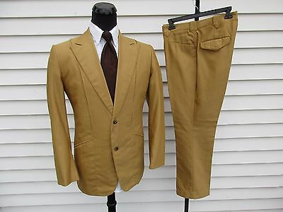 Vintage Gold Western Wear Suit Tem-Tex 42 Rockabilly Peak Lapels
