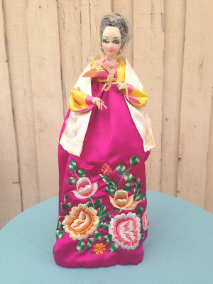 """Vintage Korean Doll All Hand Made Embroidery All Fabric 20"""" purple Hanbok"""