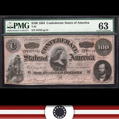 T-65 1864 $100 Confederate Currency of America LUCY PICKENS  PMG 63   33703