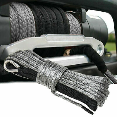 """50ft ×8mm(1/4"""") Nylon Synthetic Winch Line Cable Rope fits most car ATV UTV Gray"""