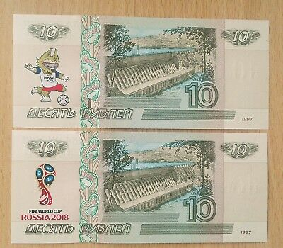 Russia 10 rubles! Set of 2 banknotes 2018 FIFA World Cup! UNC!