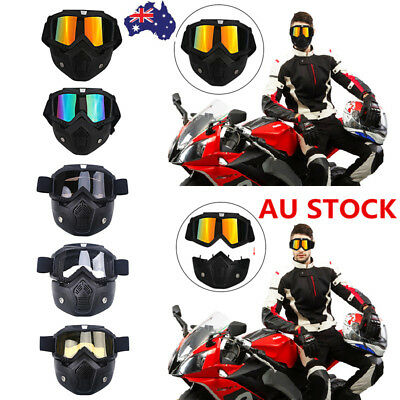 Motorcycle Bike Riding Cycling Helmet Open Face Mask Shield Goggles Detachable